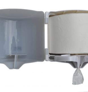 Dispenser para toalla en rollo o bobina de auto corte con perilla (abierto). | Texcel