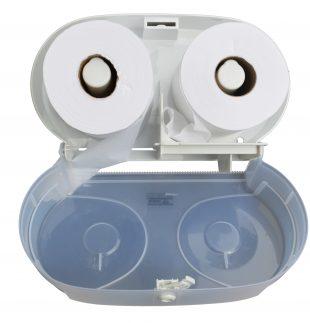 Dispensador de papel higiénico de doble salida (abierto)