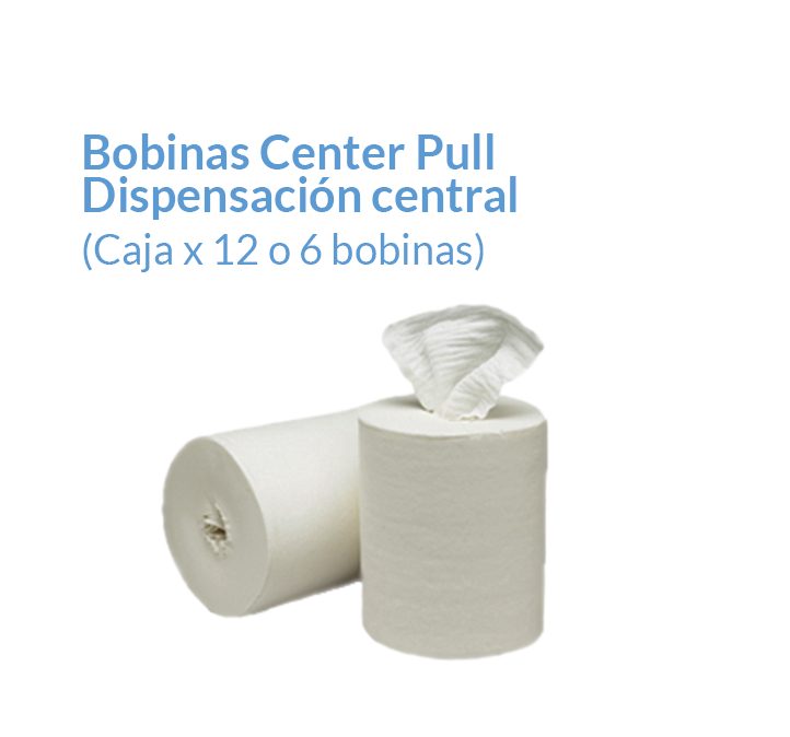 Bobina de papel Center Pull Color blanco Doble hoja | Productos de Limpieza | TEXCEL